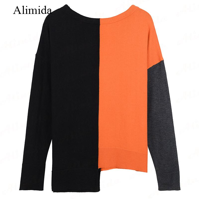 2017 New Fashion Women Sweaters Autumn Winter Knitted Shirt O-neck Full Sleeve Pullovers Patchwork Female Jumper Pull Femme