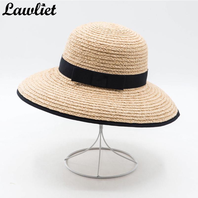 Summer Hat For Women Wide Brim Raffia Straw Hats Ladies Floppy Sun Hats  Feminino Foldable Beach Y26 Wide Brim Hat Tea Party Hats From Naixing 6ce51bece119