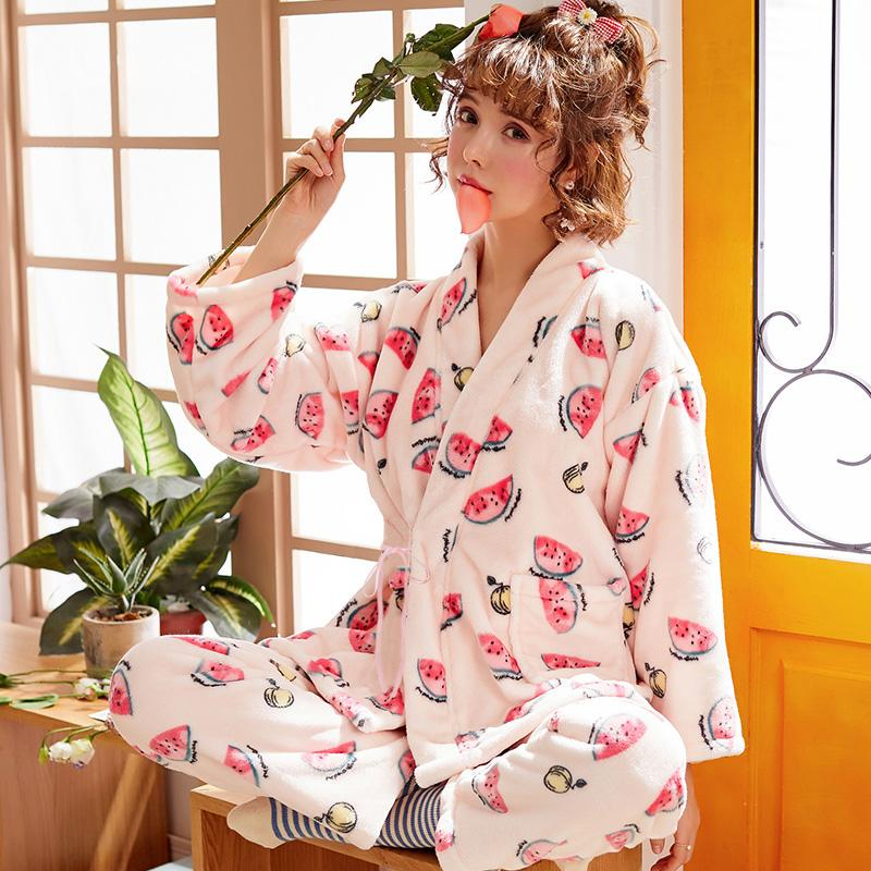 Brand Winter Warm Flannel fruit Print Women's Pajama Sets Coral Soft Velvet Sleep Lounge Girl Sleepwear Flannel Pajamas Girl Hom
