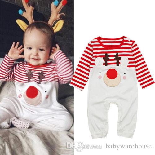 a785cfc8aa58 2019 2018 New Xmas Baby Clothes Deer Striped Romper Cute Baby Boys ...