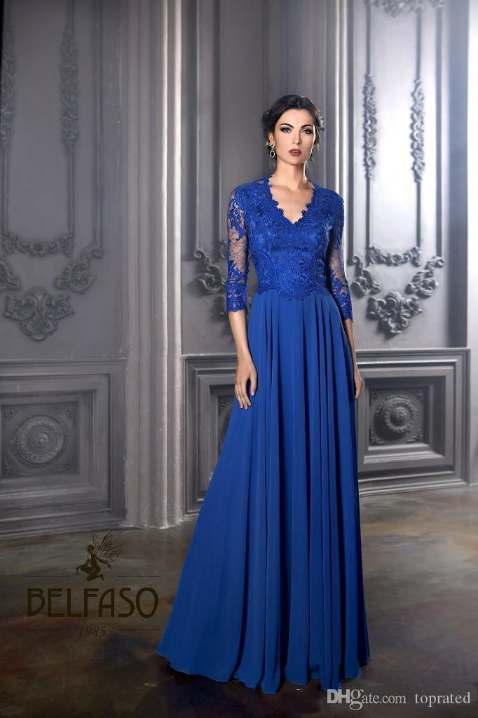2019 Cheap Long Sleeve Exquisite Mother of the Bride Gowns Janique Sheer Illusion Lace Chiffon A Line Long Formal Evening Gowns Custom Made