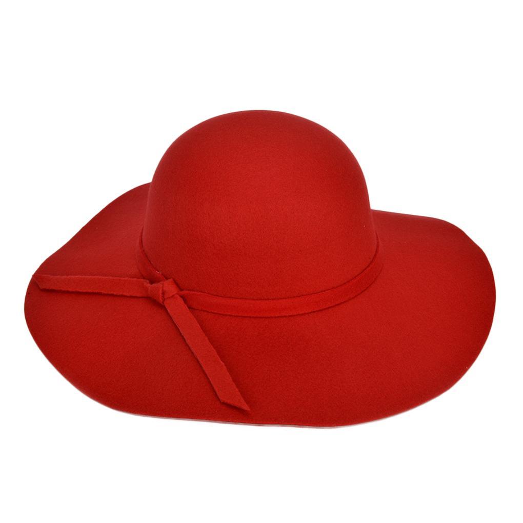 6489b0b1a10 Women Girl Felt Warm Wide Brim Hat Large Brimmed Hats Outdoor Casual ...