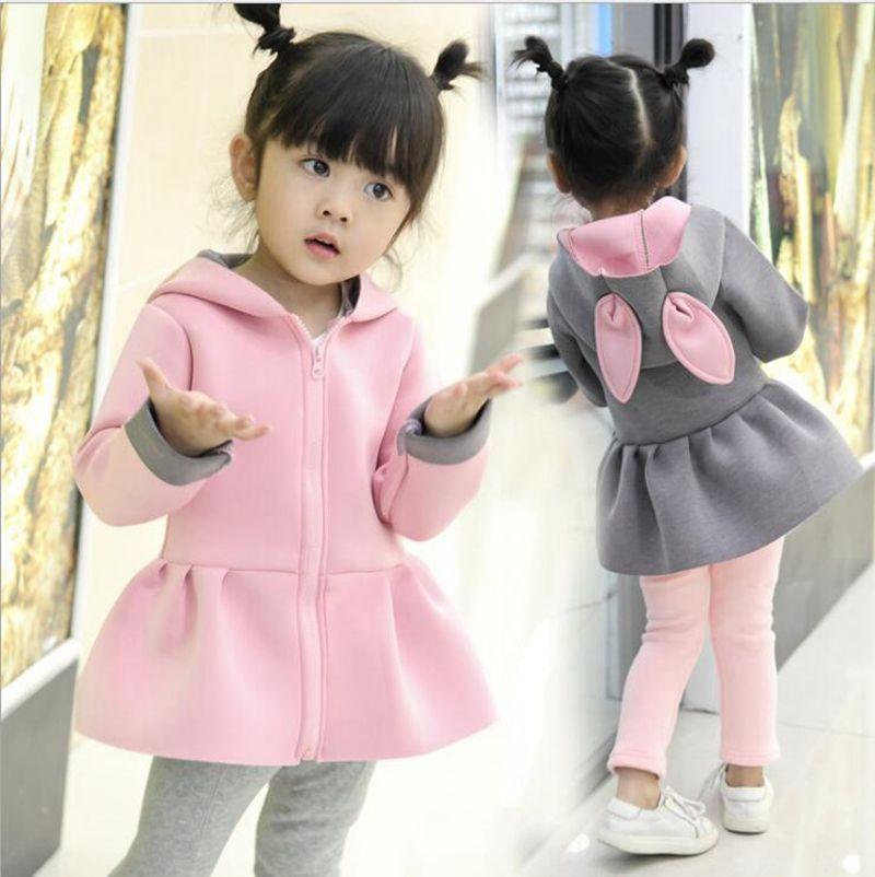 22ce66568c16 Kids Coats Autumn Baby Outwear Girls Cute Rabbit Ears Hooded Jacket ...