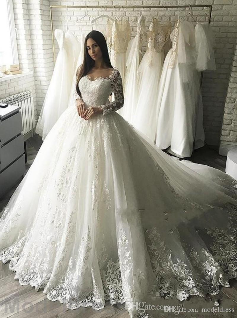 2018 Ball Gown Lace Wedding Dresses Vintage Sheer Neck Long Sleeve Appliques Plus Size Bridal Gowns African Custom Made