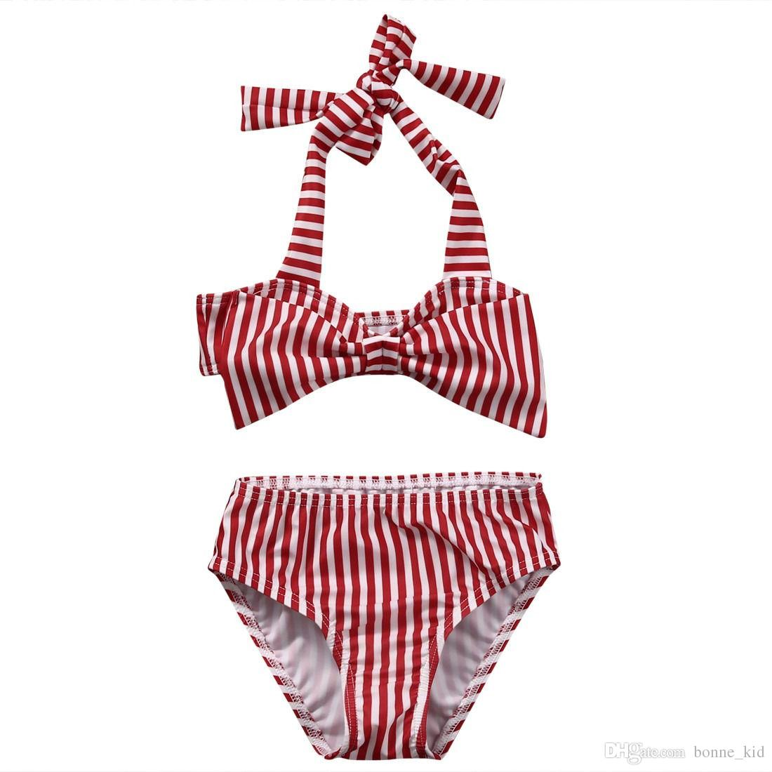 f3c1928ace21c 2019 Baby Girls Red Striped Bowknot Bikini Bandage Swimsuita Kids Wears Swimsuit  Bathing Suit Beach Swimming Pool Wear From Bonne_kid, $7.56 | DHgate.Com