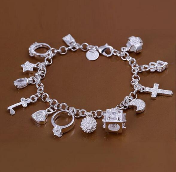 2018 New Fashion cheap plating 925 Sterling Silver CZ Crystal gemstone fashion jewelry cross moon charms Wedding bracelet
