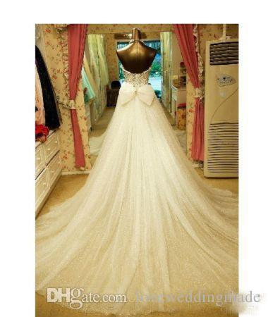 Luxury Crystal Beaded Beach Wedding Dresses with Detachable Train Sweetheart Rhinestones Bow Tulle Short Bridal Gowns Custom Made