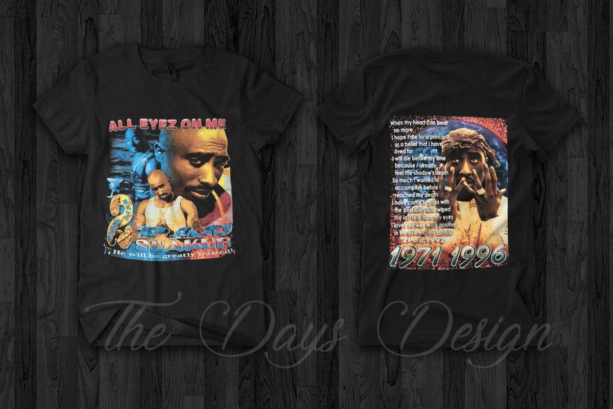 Vintage 2Pac All Eyes On Me Tupac Memorial T Shirt Rap Hip Hop Makaveli  Style 2018 High quality Brand Men T shirt Casual Short sleeve