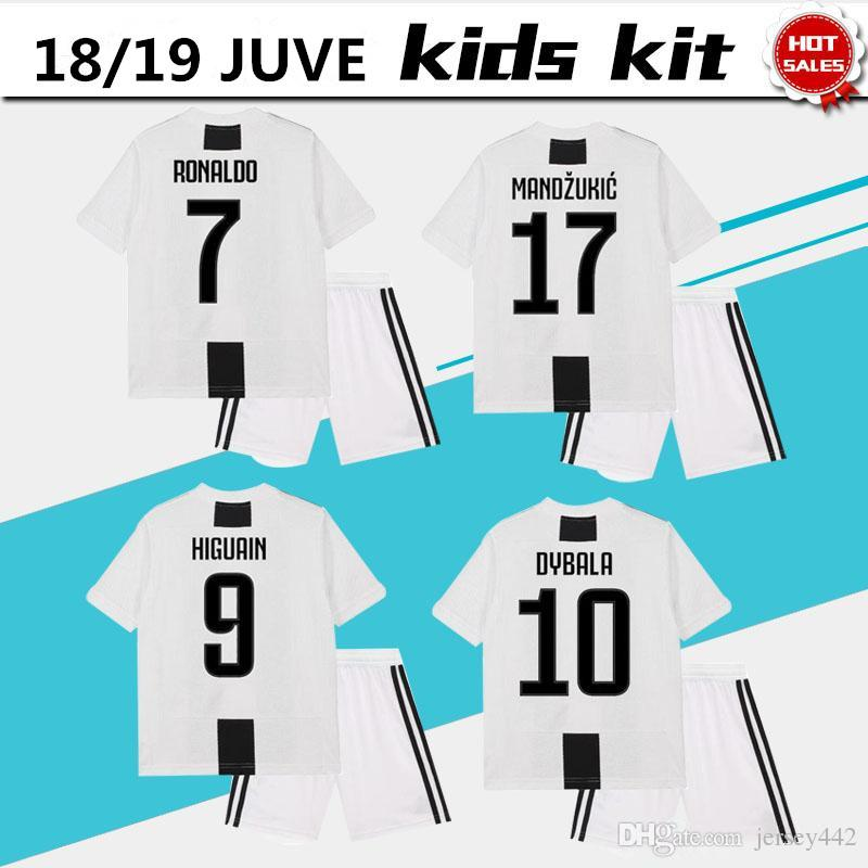740275b0d80 Gonzalo Soccer Jersey Kids Kit 18 19 RONALDO Home Boy Football Shirt ...