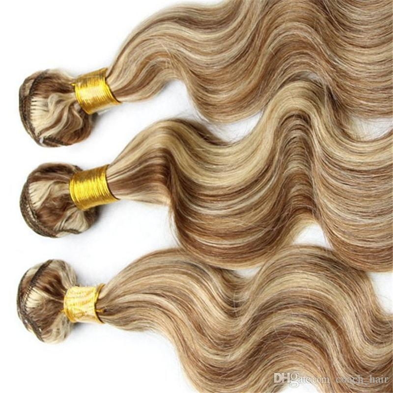8A Hellbraun mit Blonde Mixed Piano Farbe Haar # 8/613 Highlight Körperwelle Brasilianisches Reines Menschenhaar Spinnt Extensions 3 Stücke