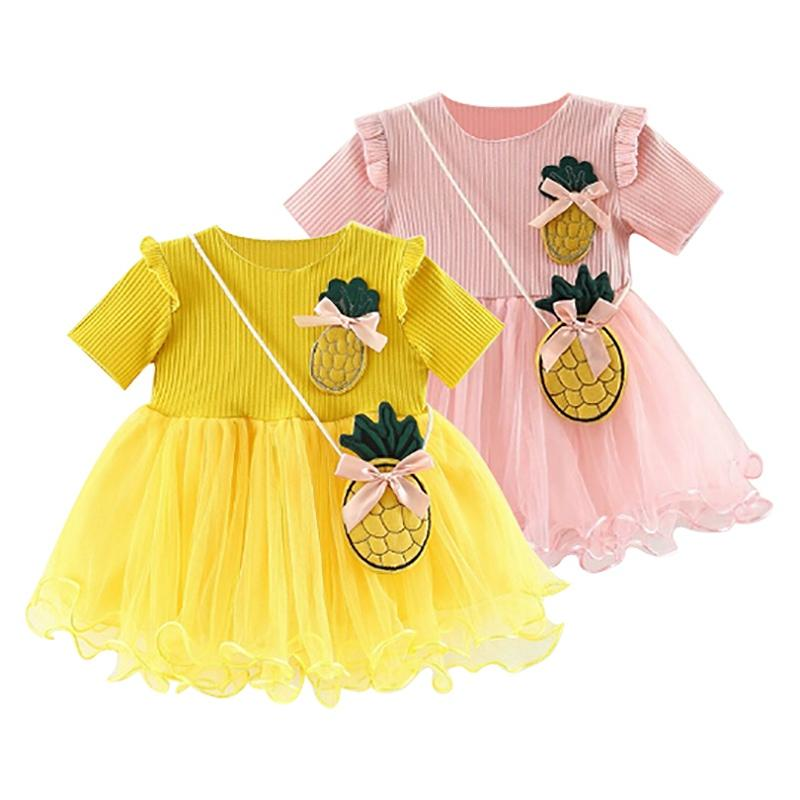 6ffdef8498699 2019 Cartoon Pineapple Baby Girl Dress Send Bag Baby Dress For Girl Clothes  Summer Mesh Princess From Bdshop
