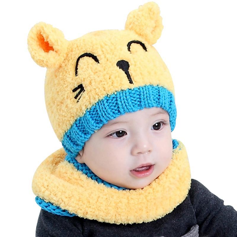 Compre Conjunto De Bufanda Con Gorro Para Bebé De Invierno 7b2e87362af