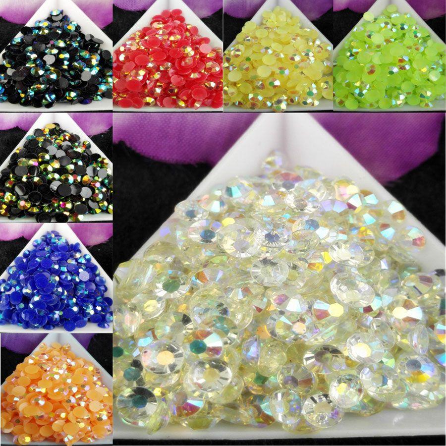 / bag SS20 5mm i gelatina AB resina strass di cristallo FlatBack Super glitter nail art strass decorazione di cerimonia nuziale perline non hotfix 2