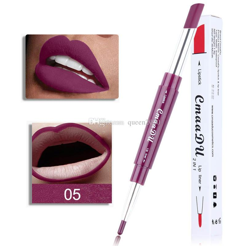 CmaaDu Lipstick Lip Liner 2 in 1 Sexy Beauty Pigment Matte Lipstick Pencils Moisturizer Lips Makeup Kit 6 Colors DHL free shipping