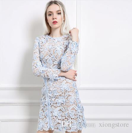 6dabbd7f 2019 Women Dresses Lace 2019 Blue Crew Early Spring Sexy Long Sleeve 3D  Flowers Appliques Women Bodycon Dress Short Party Dress Robe Vestido From  Xiongstore ...