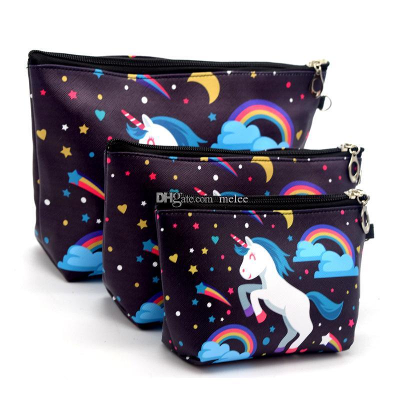 20 Renkler Seçin Kadınlar Baskı Unicorn Üç Adet Kozmetik Çantası Su Geçirmez Profesyonel Tuvalet Seti Yıkama Necessaire Seyahat makyaj Çantaları