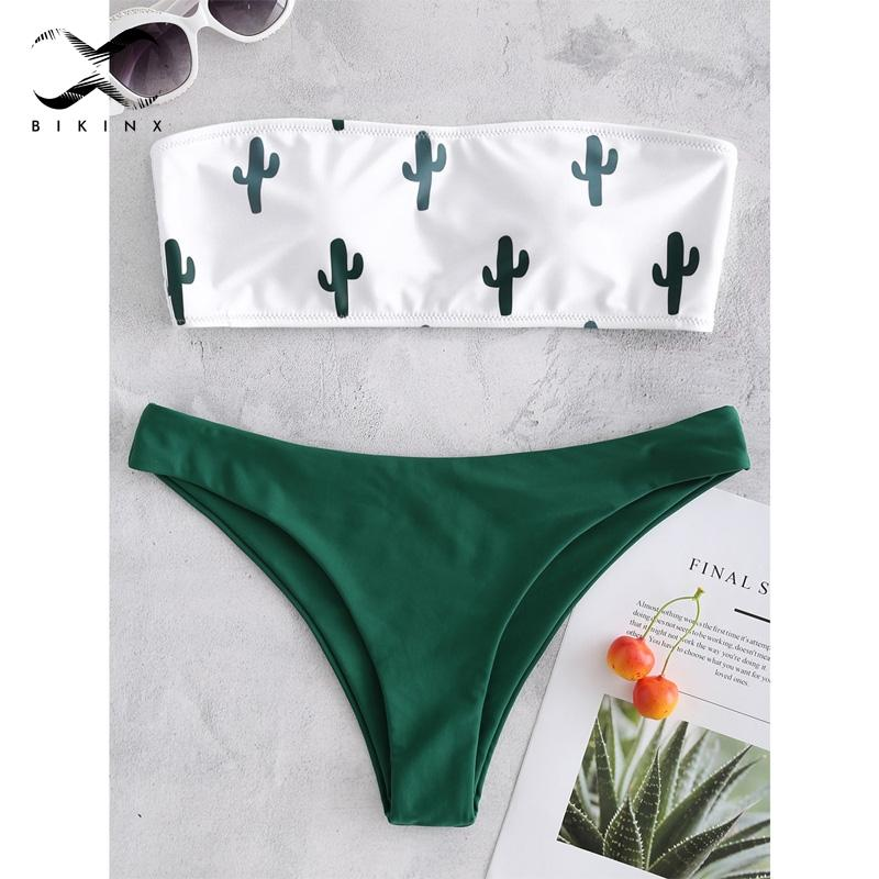 f015bc1d38 2019 Bikinx Bandeau Swimwear Green Push Up Swimsuit Female Cactus Print  Bikini 2018 Sexy Bathing Suit Beach Bathers Biquini Micro Set From  Merrylady, ...