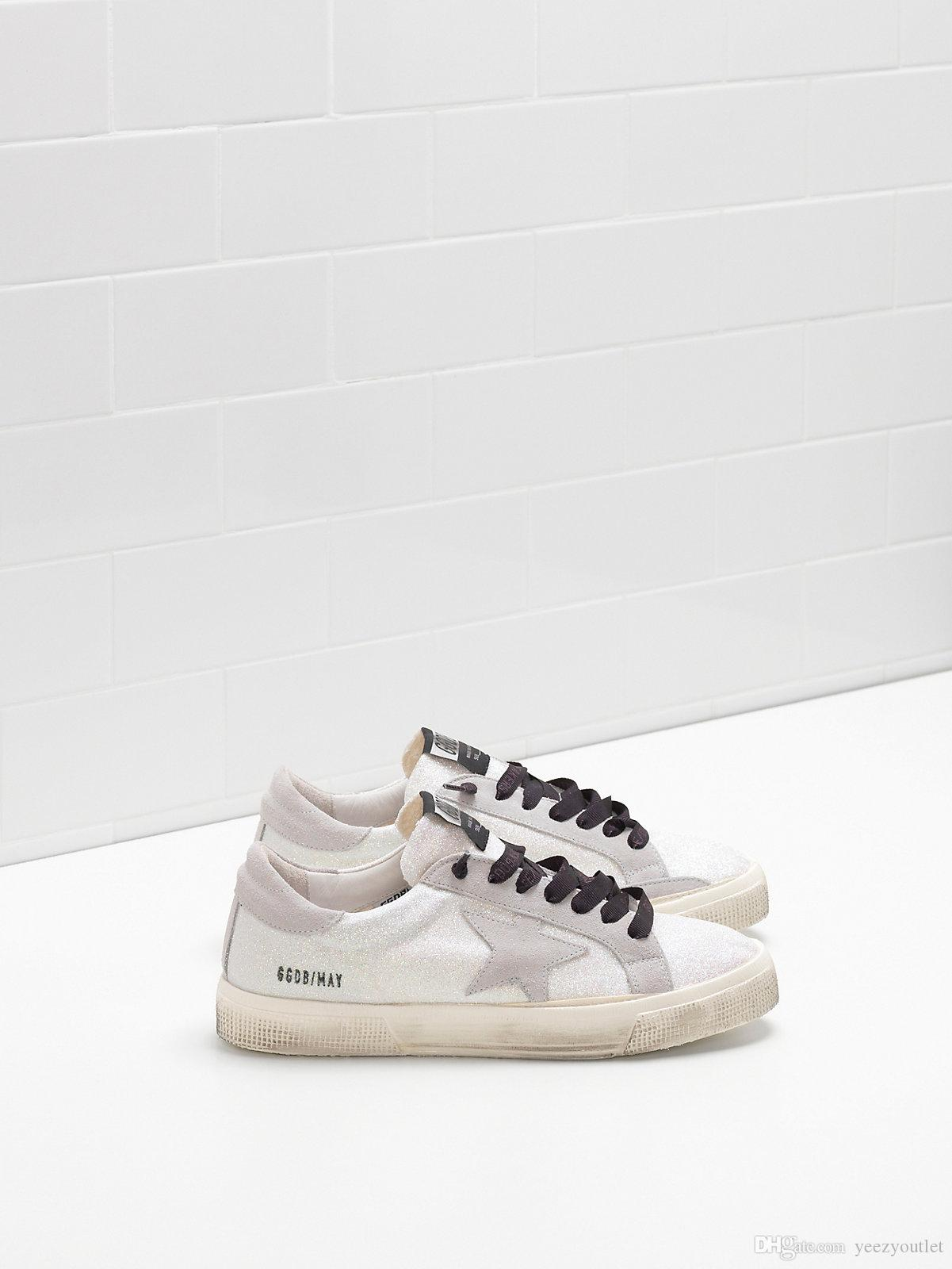 Italy Luxury Genuine Leather Goose May Sneakers Upper In  Microglitter-coated Calf Leather Suede Star Heel Tab And Eyelets In Suede  Custom La Italy Luxury ... 4de1abb3c3e4