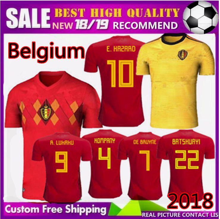 c8ba198ef 2019 Size S XXL 2018 Belgium Jerseys World Cup 18 19 R.LUKAKU FELLAINI E.HAZARD  KOMPANY DE BRUYNE Football Shirt Home Away Soccer Jersey From Xinyan168