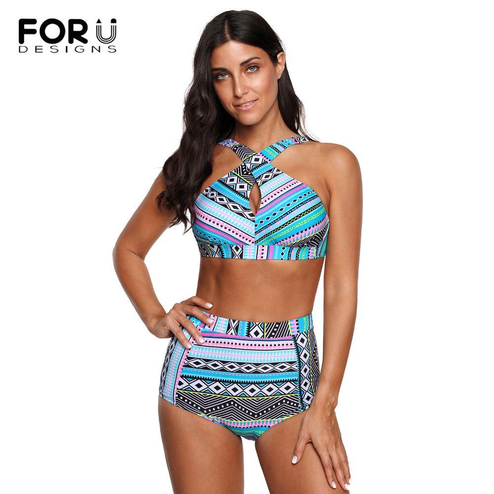 cca77589a6f5f Wholesale High Waist Swimsuit Plus Size Swimwear Women Print Colorful Vintage  Retro Fat Bathing Suit Push Up Bikini Set 4XL UK 2019 From Bdress001