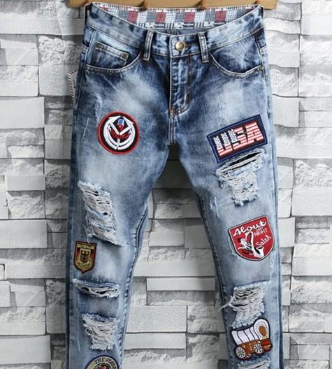 2018 new men jeans patches embroidery spliced stretch tide hip pop