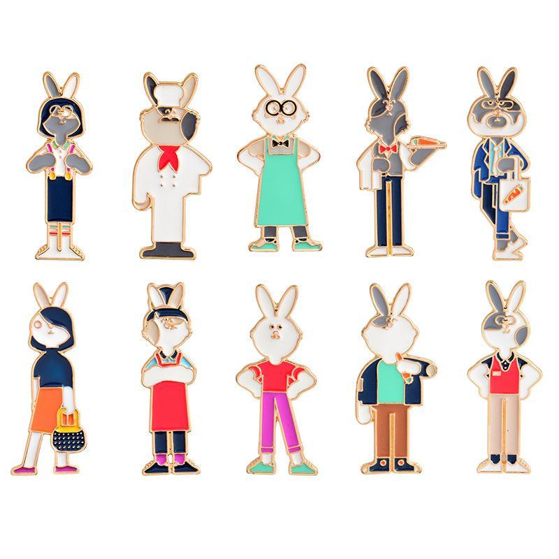 10 * Colored Cartoon Tier Kaninchen Pin Brosche für Frauen / Kinder Clips für Schals Kleid Brosche Schmuck Brosche Zubehör Freies Verschiffen
