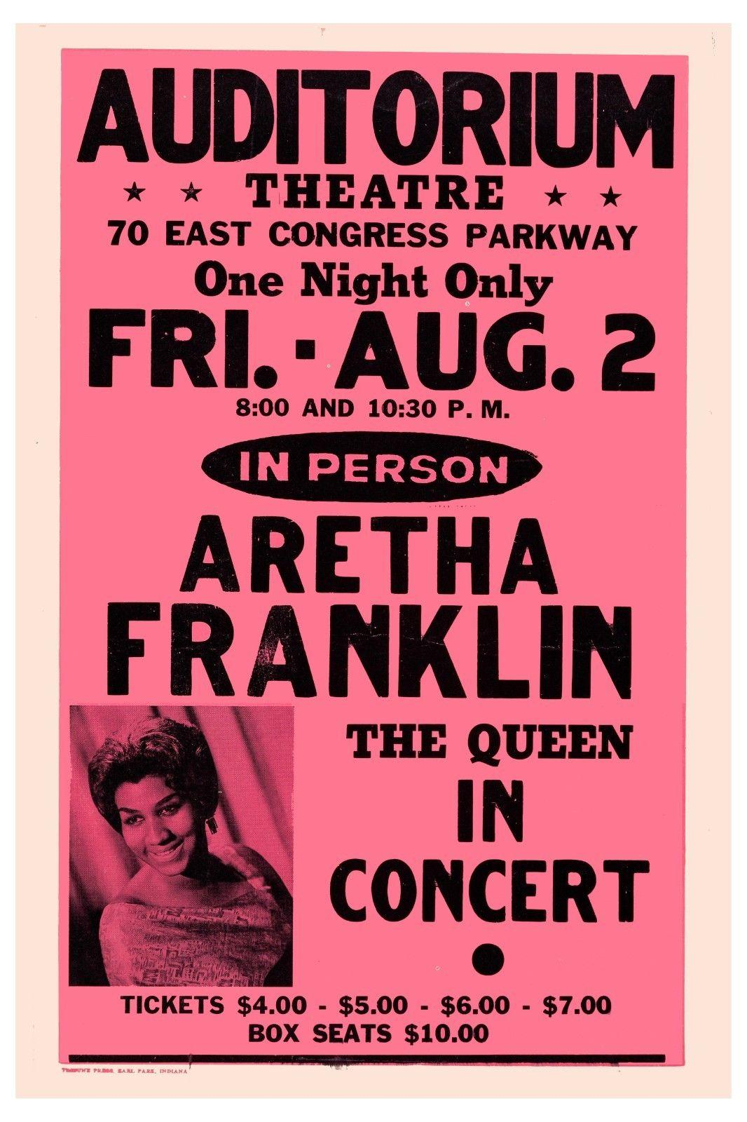 Queen of Soul: Aretha Franklin at Chicago Auditorium Theatre Concert Poster 1974 Art Silk Print Poster 24x36inch(60x90cm)