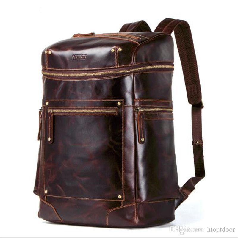 Travel Bags Luggage & Travel Bags Precise Wholesale Genuine Leather Backpacks Men Travel Backpack School Bags Luggage Bags Knapsack Rucksack Men Leather Duffle Bag Brown