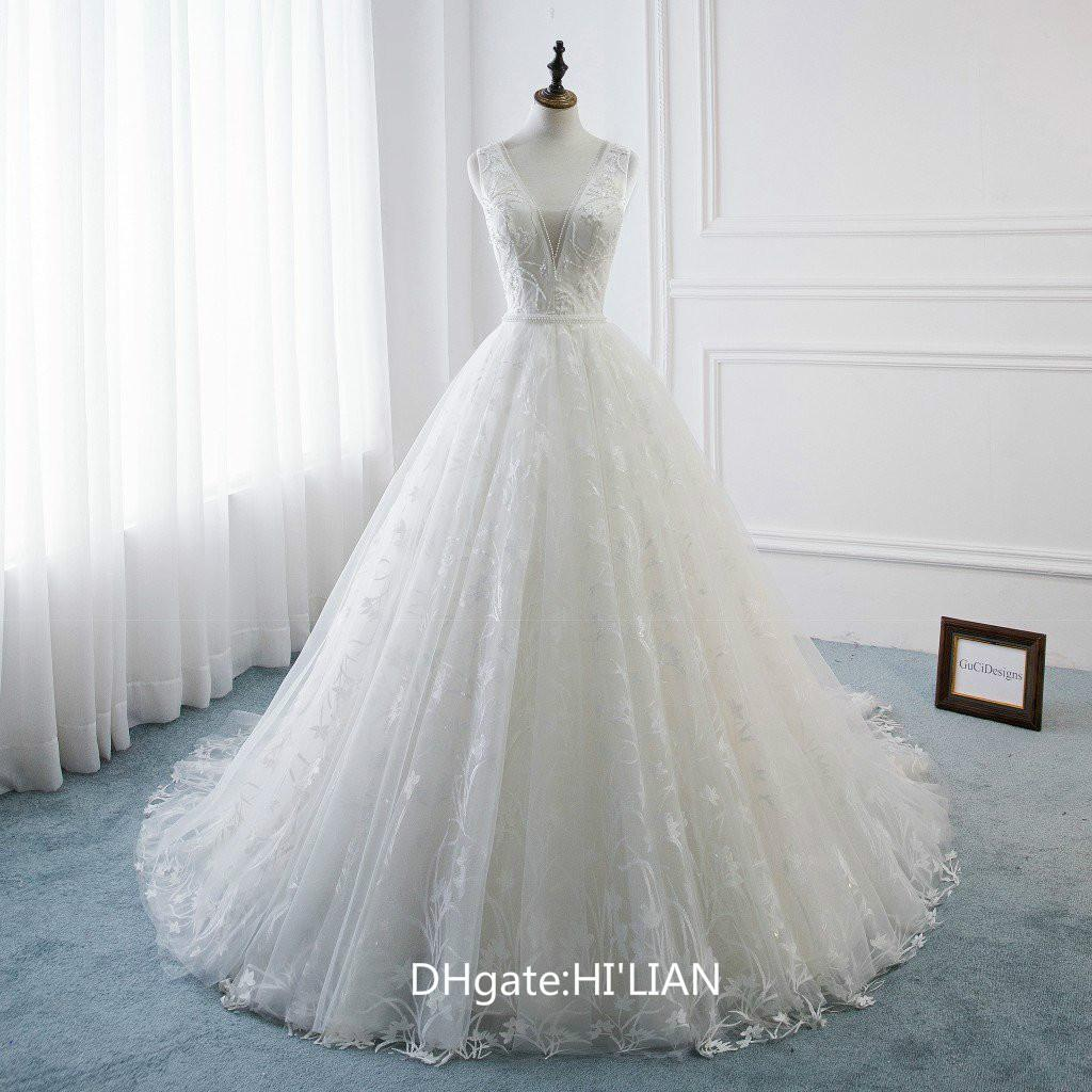 4002dd989ac Discount Super Beautiful Floral Lace A Line Wedding Dresses Long White  Bridal Gown Ball Gown Sexy Backless Deep V Neck Beach Wedding Gown With  Train ...