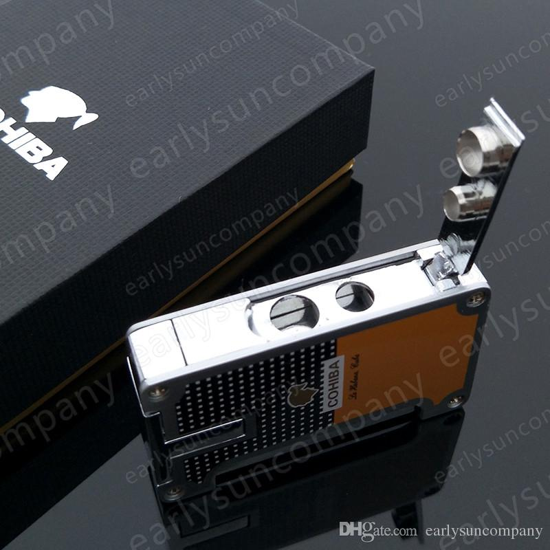 Windproof High Quality Butane Gas Cohiba Classic Torch Jet Flame Cigar Cigarette lighter with 1 Cigar Punch
