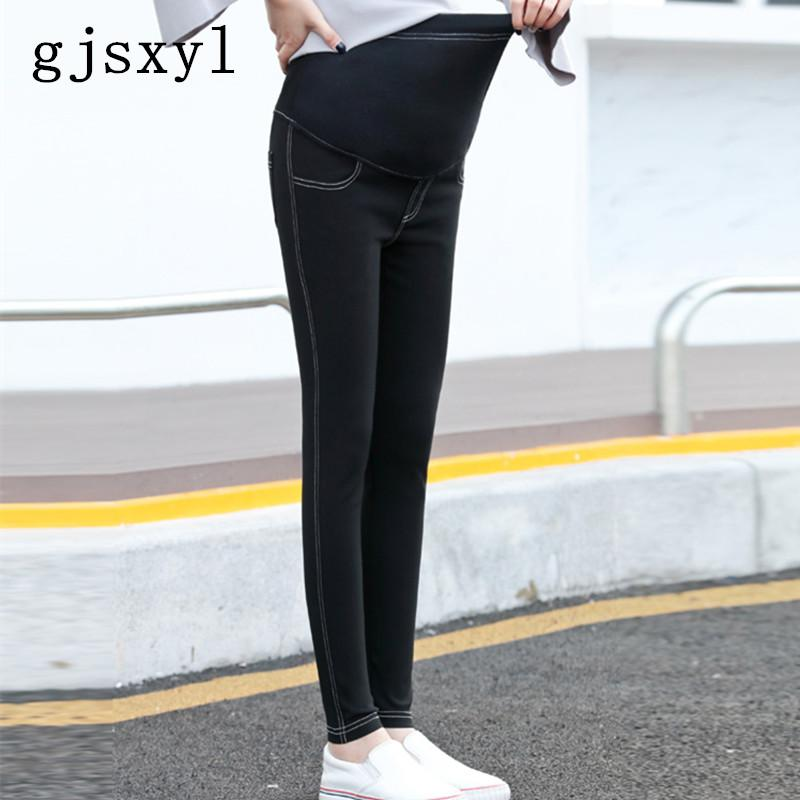 gjsxyl 2018 Cotton Maternity Jeans Spring Autumn Pregnancy Belly Elastic Thin Trousers Denim Pants for Pregnant Women