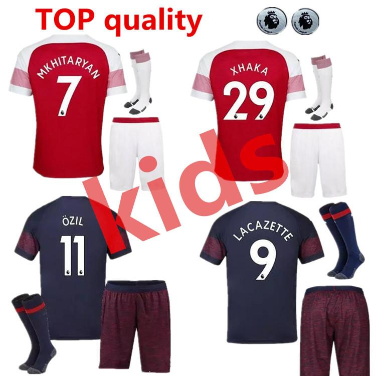 be118bdef Arsenal Kids 18 19 AUBAMEYANG LACAZETTE Soccer Jersey Home ...