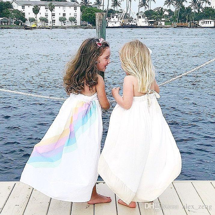 2018 Rainbow Suspender Dresses Cotton Striped Printed Girls Fashion Floor-Length Dresses Beach Skirt Breathable Summer Outfit