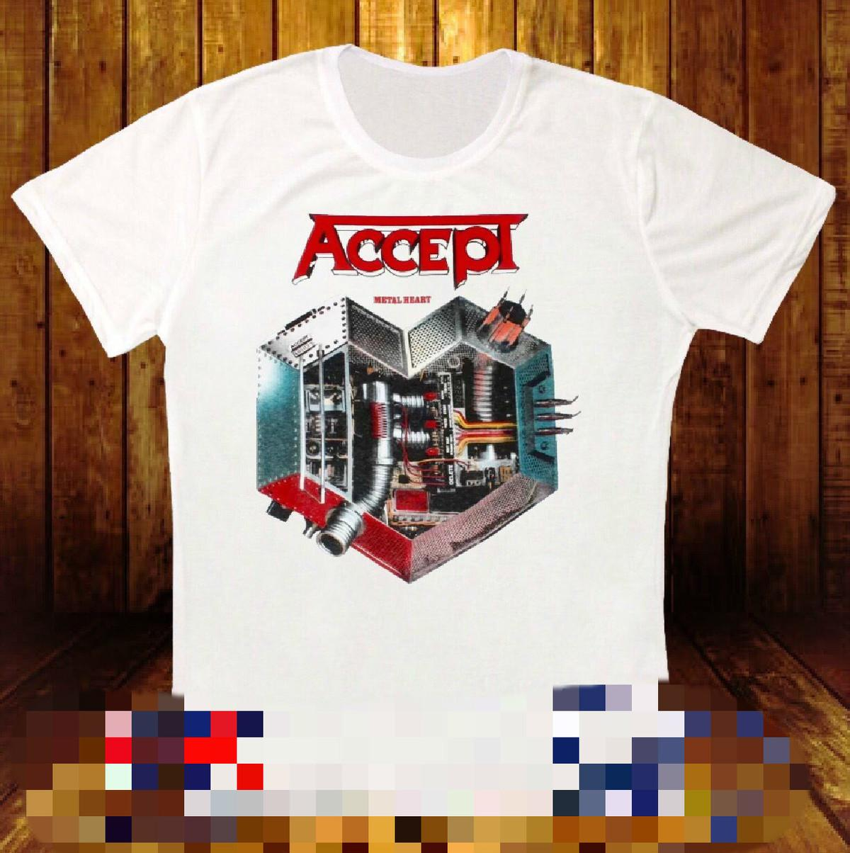ACCEPT METAL HEART'85 UDO PESANTE IN METALLO BAND WILD RAGE WHITE T-SHIRT 254 Tops stampato T-shirt Hipster a T