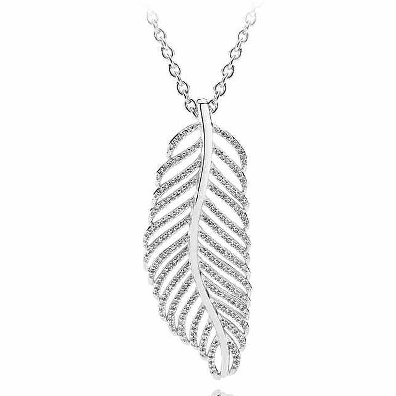 26fa1ba40 Wholesale 925 Sterling Silver Necklace Light As A Feather With Cubic  Zirconia Pendant Necklace For Women Wedding Gift Fine Pandora Jewelry  Pendant Necklaces ...