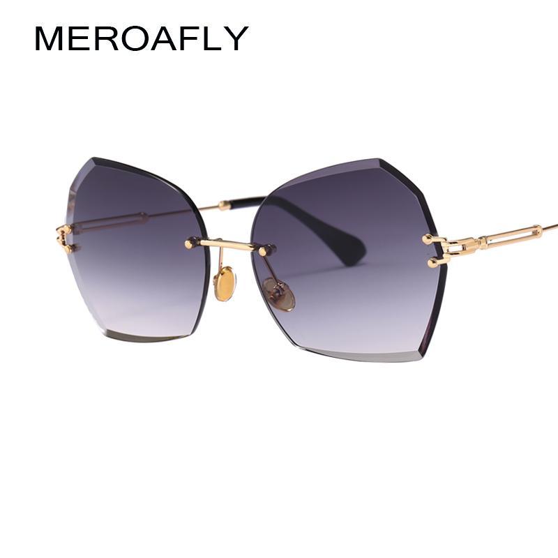 12ac3378ffa Wholesale Vintage Rimless Sunglasses Women Polygon Brown Orange ...