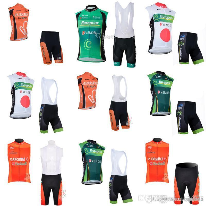 Europcar Euskaltel Cycling Sleeveless Jersey Vest Bibshorts Sets