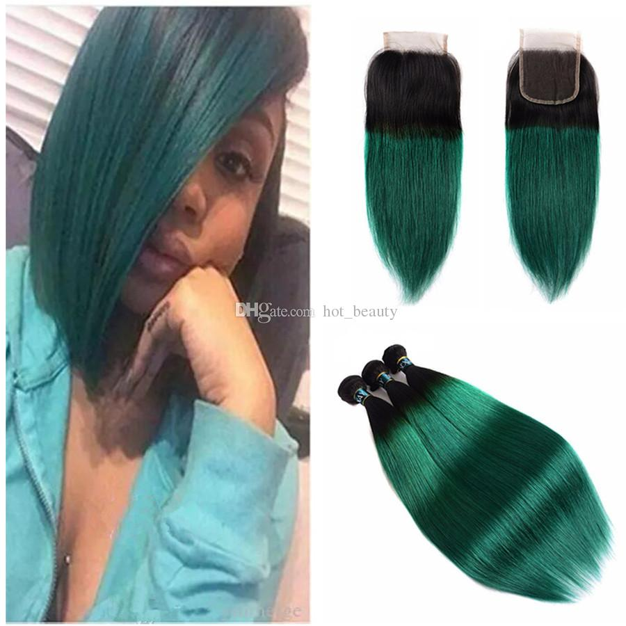 2018 8a 1b Green Ombre Hair Bundles With Closure Straight Peruvian