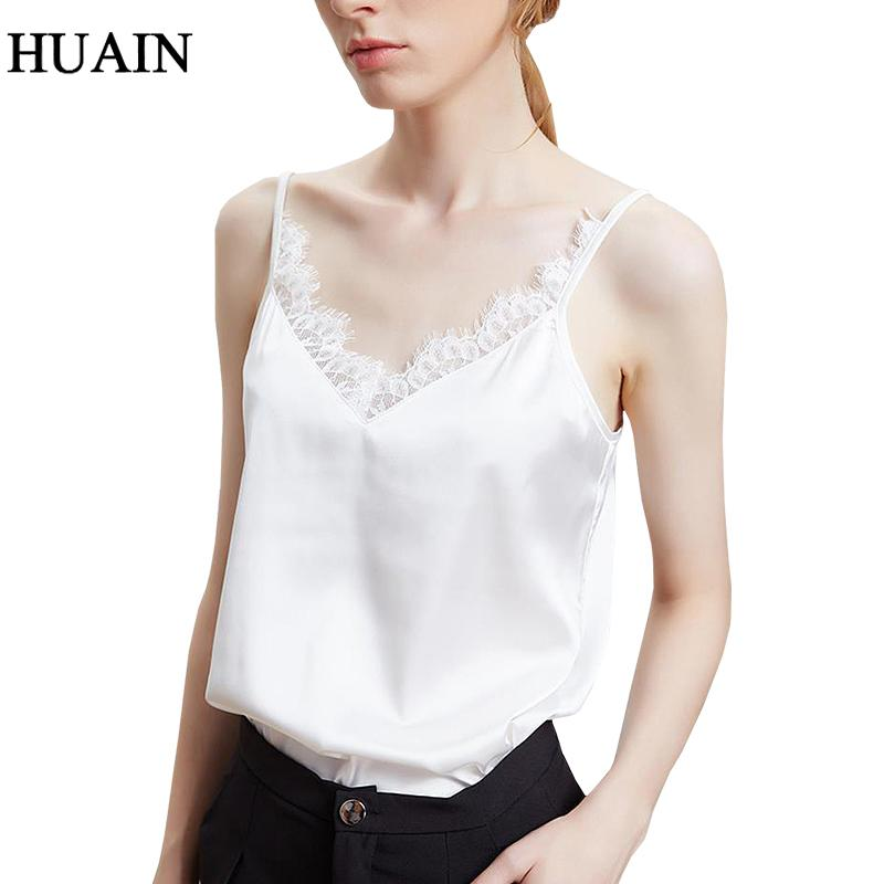 44224c318c9ff 2019 Lace Satin Tank Tops Women Summer 2018 Sexy Sleeveless Shirt Camis  Ladies 2018 Fitness Black White Camisole Casual Female Tops From Honjiao
