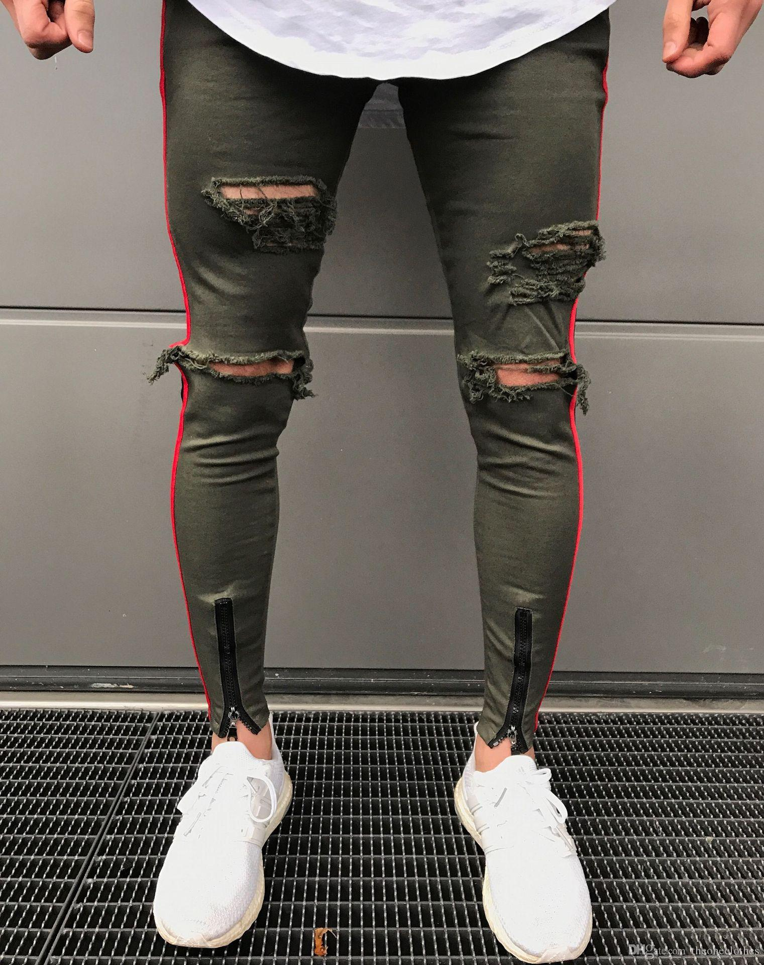 2f320d0247406 2019 New Mens Skinny Jeans Black Army Zipper Slim Biker Jeans Hip Hop Knee  Hole Ripped Denim High Street Swag Plus Size Pants For Men From  Theoneclothes
