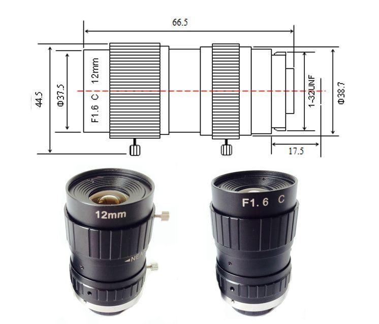 focus 12mm 5mp c mount 2/3 inch mega pixels cctv industry lens