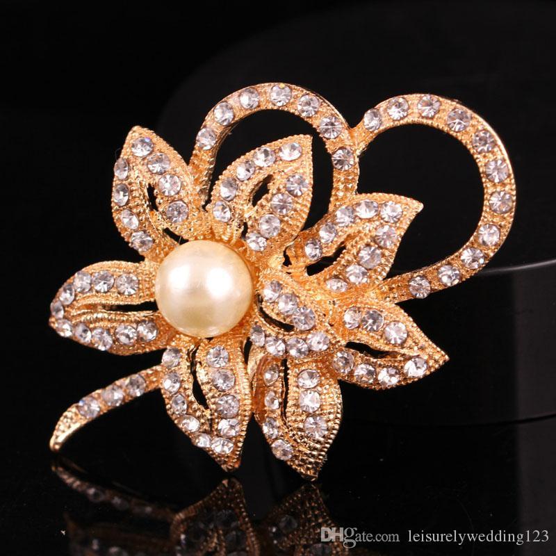 Fashion twin petals big pearl rhinestone flower brooch brooch buckle corsage female jewelry wedding boutique brooch pin 60*45mm