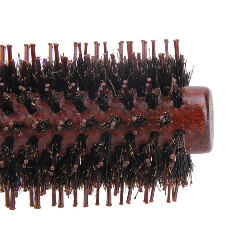 Portable Hair Brush Comb Round Anti-static Curly Brush Natural Bristle Wood Handle Hair Styling Comb Hairdress Brosse Cheveux