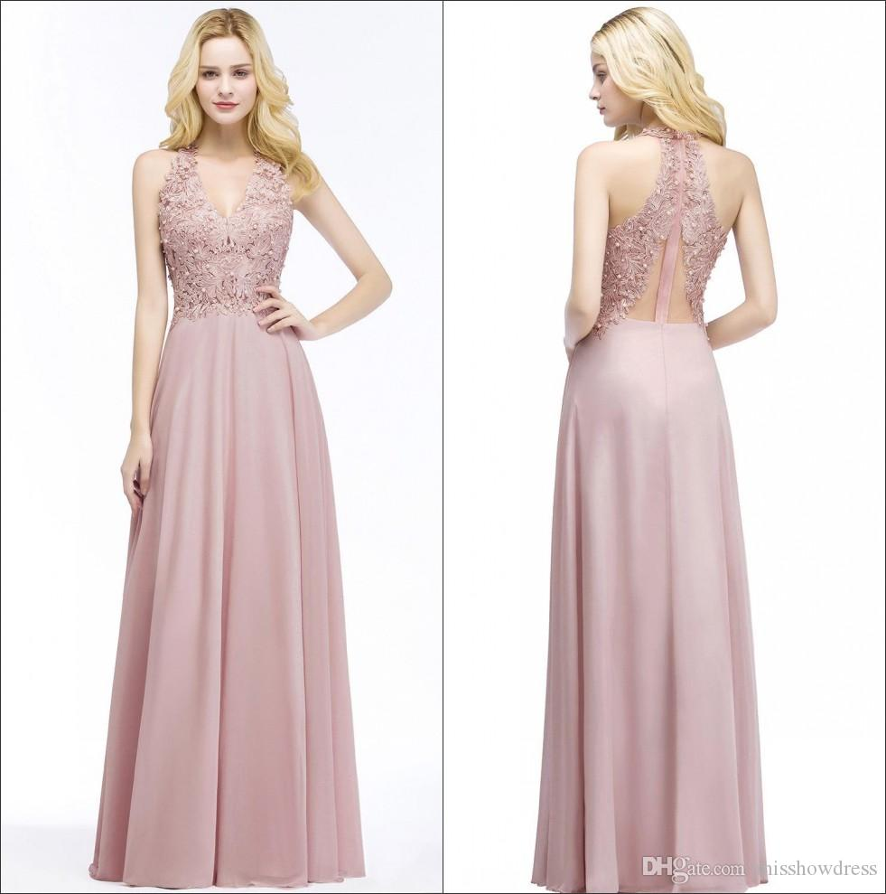 304fd40d09a Halter Chiffon Long Prom Dresses 2018 Real Image V Neck Lace Beaded Stones Formal  Party Evening Special Occasional Dresses CPS883 Designer Dresses For Party  ...