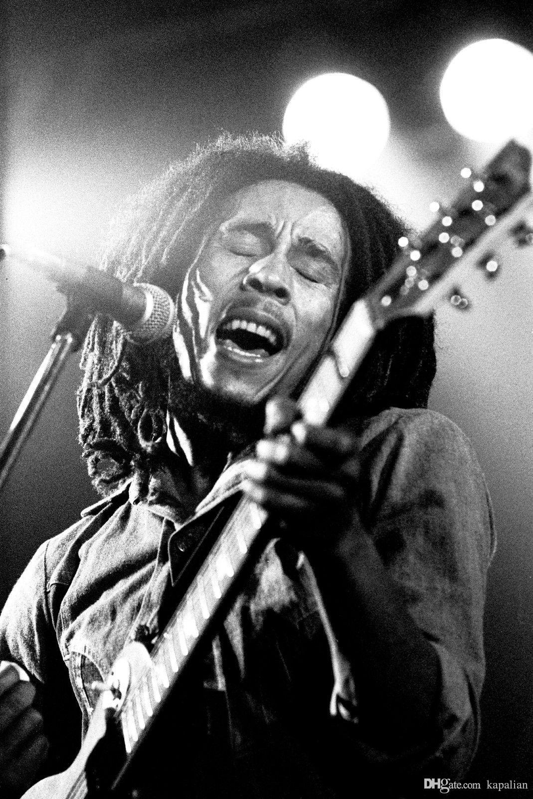 2018 Bob Marley Black White Play Guitar Art Posters Print Photopaper 16 24 36 47 Inches From Kapalian 964