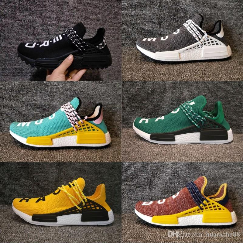 d9e103bf5c1d8 2019 Human Race Pharrell Williams Hu Trail NERD Men Womens Running Shoes  White Noble Ink Core Black Red Sports Boots Designer Sneakers 36 45 Sale Shoes  Men ...