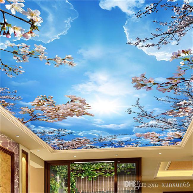 رومانسية السماء الزرقاء والسحب البيضاء أزهار الكرز صور خلفيات 3D سقف جدارية غرفة المعيشة لقضاء وقت الفراغ فندق الرعوية ديكور للجدران