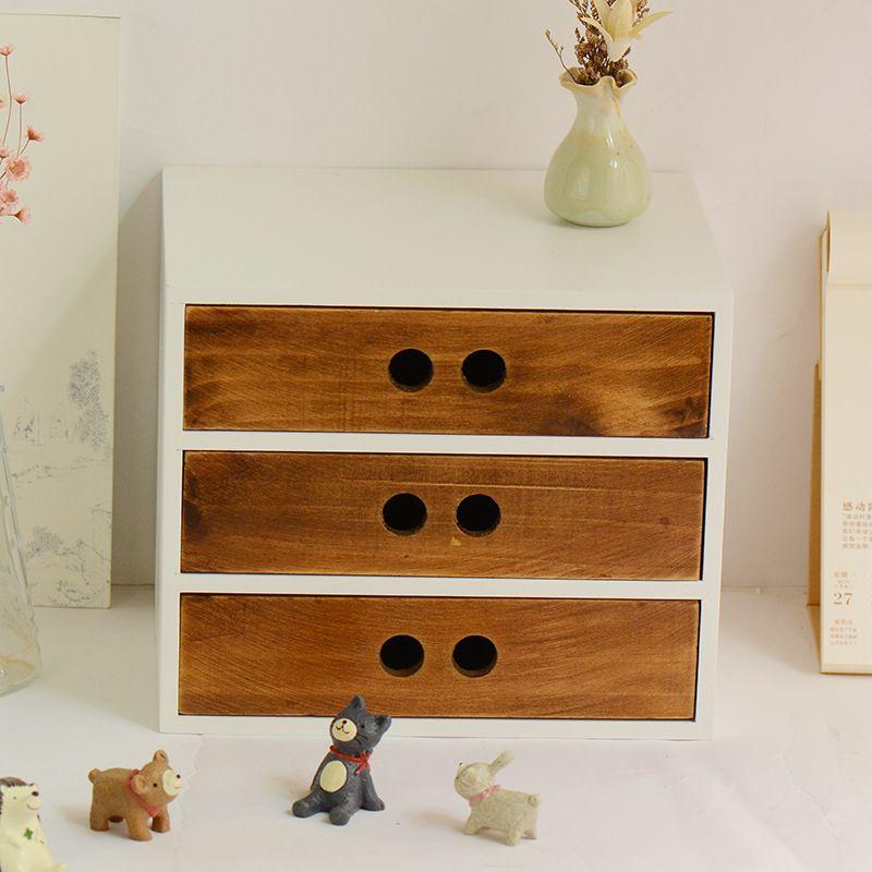 2019 Diy Wooden Box Cosmetic Drawer Makeup Organizer Case Storage