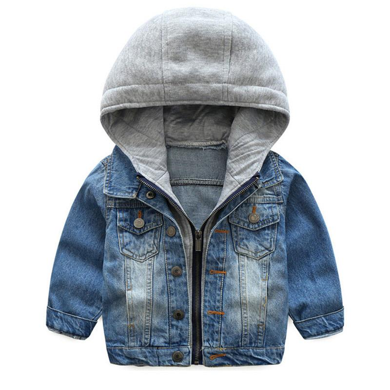 a995457f27d6 Baby Boys Coat 2017 New Spring Autumn Wash Soft Denim Coat Hooded ...