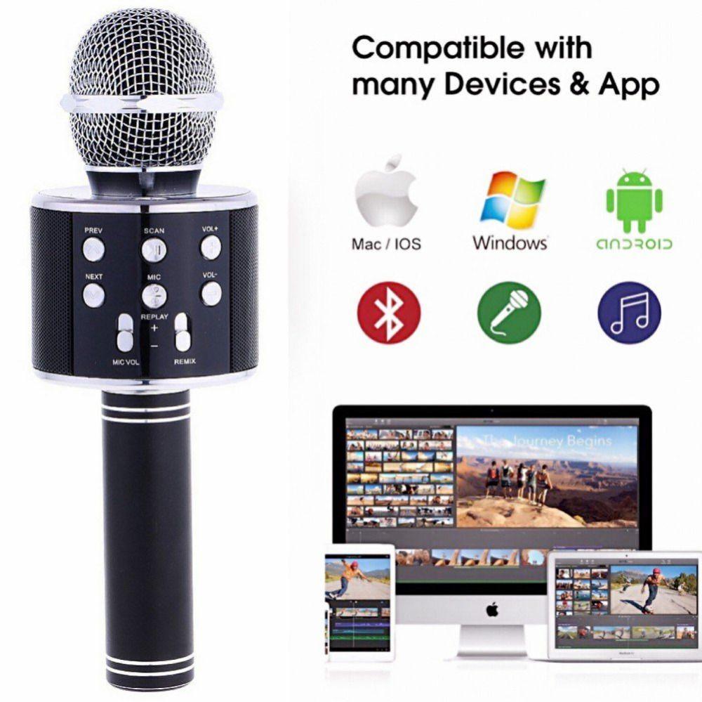 T-Gtexnik WS858 Handheld Bluetooth Wireless Karaoke Microphone Phone Player  MIC Speaker Record Music KTV Microfone for iPhone PC